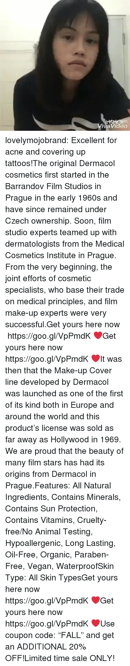 """minerals: vaVideo lovelymojobrand:  Excellent for acne and covering up tattoos!The original Dermacol cosmetics first started in the Barrandov Film Studios in Prague in the early 1960s and have since remained under Czech ownership. Soon, film studio experts teamed up with dermatologists from the Medical Cosmetics Institute in Prague. From the very beginning, the joint efforts of cosmetic specialists, who base their trade on medical principles, and film make-up experts were very successful.Get yours here now https://goo.gl/VpPmdK❤Get yours here now  https://goo.gl/VpPmdK❤It was then that the Make-up Cover line developed by Dermacol was launched as one of the first of its kind both in Europe and around the world and this product's license was sold as far away as Hollywood in 1969. We are proud that the beauty of many film stars has had its origins from Dermacol in Prague.Features: All Natural Ingredients, Contains Minerals, Contains Sun Protection, Contains Vitamins, Cruelty-free/No Animal Testing, Hypoallergenic, Long Lasting, Oil-Free, Organic, Paraben-Free, Vegan, WaterproofSkin Type: All Skin TypesGet yours here now  https://goo.gl/VpPmdK❤Get yours here now  https://goo.gl/VpPmdK❤Use coupon code:""""FALL"""" and get an ADDITIONAL 20% OFF!Limited time sale ONLY!"""