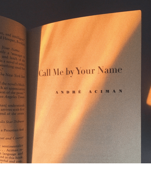 Gent: ve, and intell  d Hooper  gent  , Bookl  Your Name  nly a 'teenager in  and lurch of the  is a novel of sedoc  mething sall but  Call Me by Your Name  he New York Sun  f the novel's Med  ion of the prose  h an appreciation  A N D R É A C I M A N  os Angeles Times  an] understands  arrives with first  end of the erotic  lis Star-Tribune  a Proustian feat  ost and Courier  sentimentality  . . Aciman re-  ed in this book  language and  verful and con