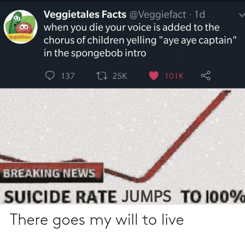 "Suicide: Veggietales Facts @Veggiefact · 1d  when you die your voice is added to the  chorus of children yelling ""aye aye captain""  in the spongebob intro  VegsieTales  27 25K  137  101K  BREAKING NEWS  SUICIDE RATE JUMPS TO 100% There goes my will to live"