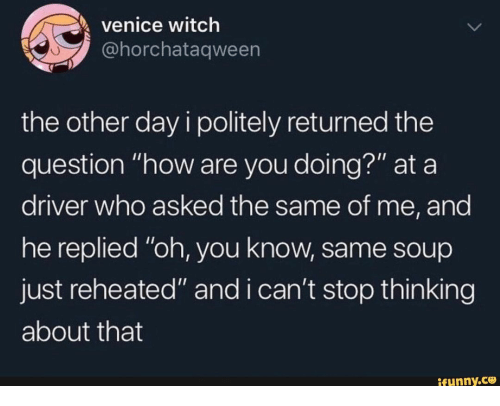"""the question: venice witch  @horchataqween  the other day i politely returned the  question """"how are you doing?"""" at a  driver who asked the same of me, and  he replied """"oh, you know, same soup  just reheated"""" and i can't stop thin king  about that  ifunny.co"""
