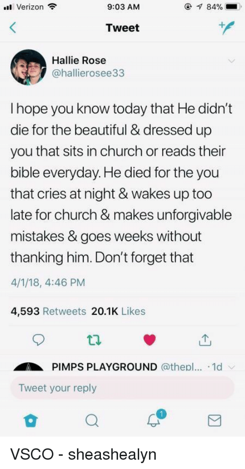thanking: Verizon  9:03 AM  84%  Tweet  Hallie Rose  @hallierosee33  I hope you know today that He didn't  die for the beautiful & dressed up  you that sits in church or reads their  bible everyday. He died for the you  that cries at night & wakes up too  late for church & makes unforgivable  mistakes & goes weeks without  thanking him. Don't forget that  4/1/18, 4:46 PM  4,593 Retweets 20.1K Likes  ti.  PIMPS PLAYGROUND @thepl... .1d  Tweet your reply VSCO - sheashealyn