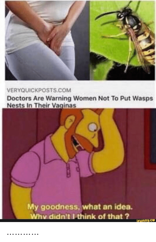 Women, Idea, and Com: VERYQUICKPOSTS.COM  Doctors Are Warning Women Not To Put Wasps  Nests In Their Vaginas  My goodness, what an idea.  Why didn't think of that?  ifunny.co …………