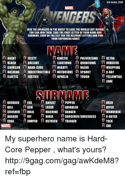 Yolked: VIA 9GAG.COM  MARVEL  YOU CAN JOIN THEM, TAKE THE FIRST LETTER OF YOUR NAME AND  SURNAME. LOOK ON THE LIST FOR THE RELEVANT LETTERS AND FIND  YOUR SUPERHERO NAME!  MAME  A KINETIC  PULVERISING M ULTRA  AGENT  FEISTY  B BLACK  A GALLANT  n LIGHTNING  O QUENCHING M VENGEFUL  C CRIMSON M HARD-CORE  M MIGHTY  R RAZOR  WHIPPING  n DASHING  n INDESTRUCTIBLE M NOTORIOUS S SPARKY  JR X-RAY  0 OPHELIA  ELASTIC n JUSTICE  D7 YELLOWTAIL  TOUGH  ZANE  A AVENGER E Fox  R KNIGHT P PEPPER  UBER  A GEM  R BELL  LASER  0 QUIBBLER  M VIPER  B CRUSHER HULK M MACHINE RANGER  WANDERER  DAGGER  n IVY  M NINJA  S SORCERERISORCEREsss TR X-RATED  EDGE  JUMPER 0 OSTRICH  T TRIGGER  YOLK  72 ZAG My superhero name is Hard-Core Pepper , what's yours? http://9gag.com/gag/awKdeM8?ref=fbp