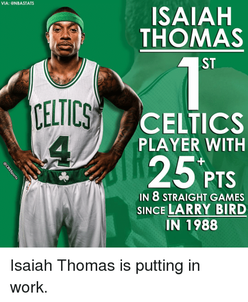 Celtic, Memes, and Celtics: VIA: @NBA STATS  CELTICS  ISAIAH  THOMAS  CELTICS  PLAYER WITH  25 PTS  IN 8 STRAIGHT GAMES  SINCE LARRY BIRD  IN 1988 Isaiah Thomas is putting in work.