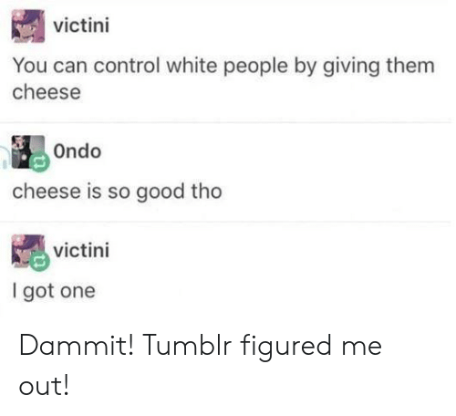 Tumblr, White People, and Control: victini  You can control white people by giving them  cheese  Ondo  cheese is so good tho  victini  I got one Dammit! Tumblr figured me out!