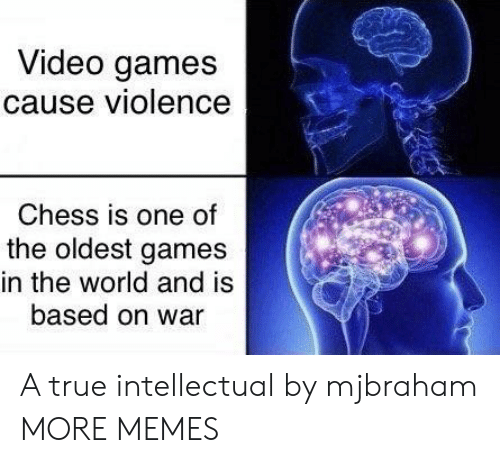 Dank, Memes, and Target: Video games  cause violence  Chess is one of  the oldest games  in the world and is  based on war A true intellectual by mjbraham MORE MEMES