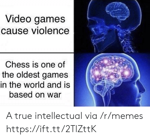 Memes, True, and Video Games: Video games  cause violence  Chess is one of  the oldest games  in the world and is  based on war A true intellectual via /r/memes https://ift.tt/2TlZttK