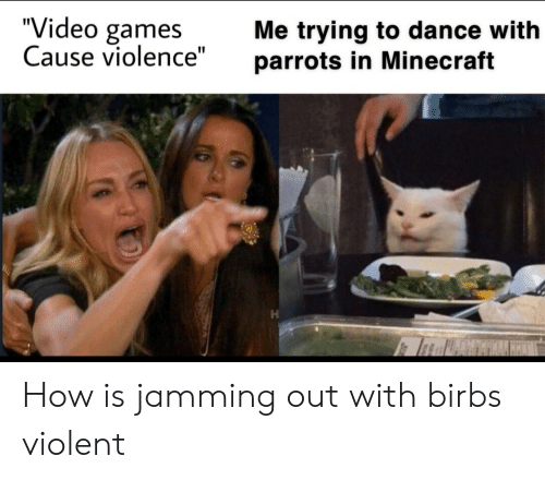 """Minecraft, Video Games, and Games: """"Video games  Cause violence""""  Me trying to dance with  parrots in Minecraft How is jamming out with birbs violent"""
