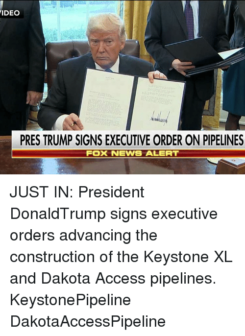 Pipeliner: VIDEO  PRES TRUMP SIGNS EXECUTIVE ORDER ON PIPELINES  Fox NEWS ALERT JUST IN: President DonaldTrump signs executive orders advancing the construction of the Keystone XL and Dakota Access pipelines. KeystonePipeline DakotaAccessPipeline