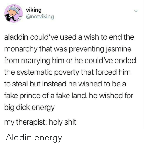 Aladdin: viking  @notviking  aladdin could've used a wish to end the  monarchy that was preventing jasmine  from marrying him or he could've ended  the systematic poverty that forced him  to steal but instead he wished to be a  fake prince of a fake land. he wished for  big dick energy  my therapist: holy shit Aladin energy