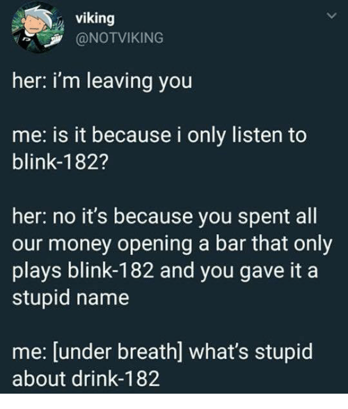 Money, Blink 182, and Viking: viking  @NOTVIKING  her: i'm leaving you  me: is it because i only listen to  blink-182?  her: no it's because you spent all  our money opening a bar that only  plays blink-182 and you gave it a  stupid name  me: [under breath] what's stupid  about drink-182