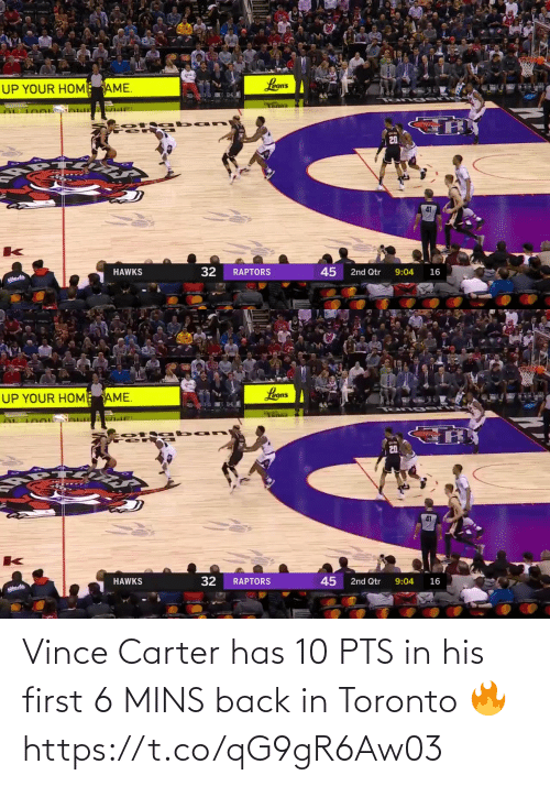 Vince: Vince Carter has 10 PTS in his first 6 MINS back in Toronto 🔥  https://t.co/qG9gR6Aw03