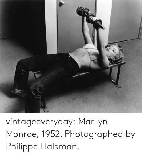 Tumblr, Blog, and Marilyn Monroe: vintageeveryday: Marilyn Monroe, 1952. Photographed by Philippe Halsman.