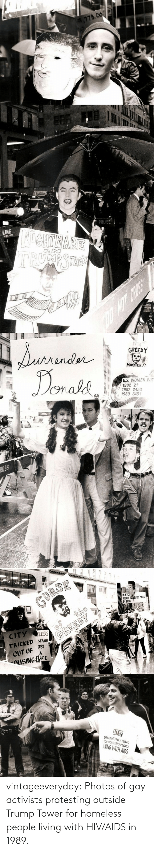 html: vintageeveryday:  Photos of gay activists protesting outside Trump Tower for homeless people living with HIV/AIDS in 1989.