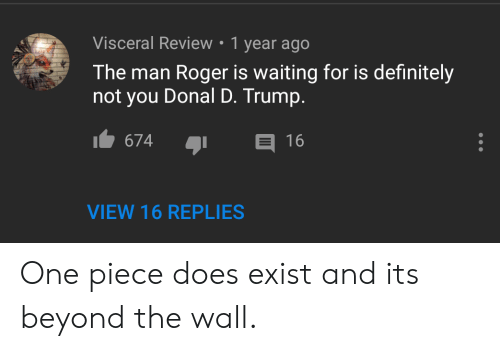 D Trump: Visceral Review . 1 year ago  The man Roger is waiting for is definitely  not you Donal D. Trump.  674  16  VIEW 16 REPLIES One piece does exist and its beyond the wall.