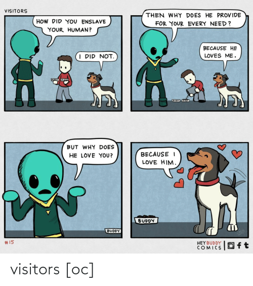 buddy: VISITORS  THEN WHY DOES HE PROVIDE  HOW DID YOU ENSLAVE  FOR YOUR EVERY NEED?  YOUR HUMAN?  BECAUSE HE  I DID NOT.  LOVES ME.  BUODY UOY  BUT WHY DOES  HE LOVE YOU?  BECAUSE I  LOVE HIM.  BUDDY  BUDDY  2414  #15  HEYBUDDY  COMICS visitors [oc]