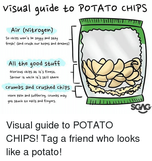 visualizer: Visual quide to POTATO cHIPS  Air (Nitrogen)  So chips won't be soggy and stay  fresh! (and crush our hopes and dreams)  All the good Stuff  F  Glorious chips at it's finest.  Savour it while it's still there  crumbs and crushed chips「  More pain and suffering. crumbs may  get stuck to wails and Fingers.  SGAG Visual guide to POTATO CHIPS! Tag a friend who looks like a potato!