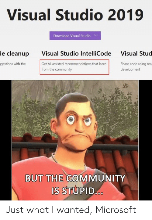 rea: Visual Studio 2019  Download Visual Studio  Visual Studio IntelliCode  Get Al-assisted recommendations that learn  from the community  le cleanup  Visual Stud  gestions with the  Share code using rea  development  BUT THE COMMUNITY  S STUPID Just what I wanted, Microsoft