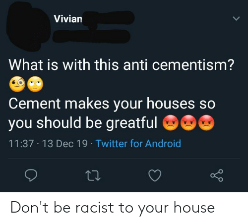 Greatful: Vivian  What is with this anti cementism?  Cement makes your houses so  you should be greatful  11:37 · 13 Dec 19 Twitter for Android  27 Don't be racist to your house