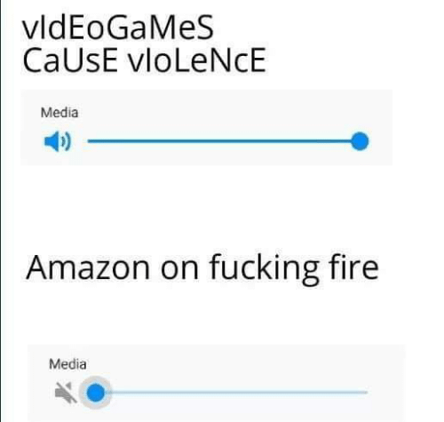 Amazon, Fire, and Fucking: vldEoGaMeS  CaUsE vloLeNcE  Media  Amazon on fucking fire  Media