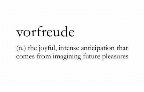 Joyful: vorfreude  (n.) the joyful, intense anticipation that  comes from imagining future pleasures