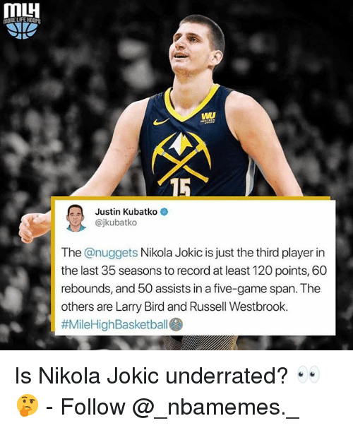 Memes, Russell Westbrook, and Game: VWL  15  Justin Kubatko  @jkubatko  The @nuggets Nikola Jokic is just the third player in  the last 35 seasons to record at least 120 points, 60  rebounds, and 50 assists in a five-game span. The  others are Larry Bird and Russell Westbrook.  Is Nikola Jokic underrated? 👀🤔 - Follow @_nbamemes._