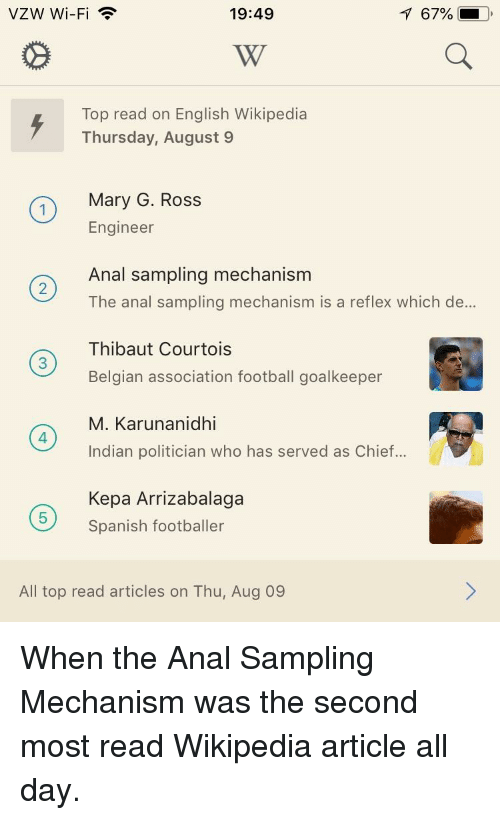 Football, Funny, and Spanish: VZW Wi-Fi  19:49  167%  i,  Top read on English Wikipedia  Thursday, August 9  nMary G. Ross  Engineer  Anal sampling mechanism  The anal sampling mechanism is a reflex which de...  Thibaut Courtois  Belgian association football goalkeeper  M. Karunanidhi  Indian politician who has served as Chief...  Kepa Arrizabalaga  Spanish footballer  4  5  All top read articles on Thu, Aug 09