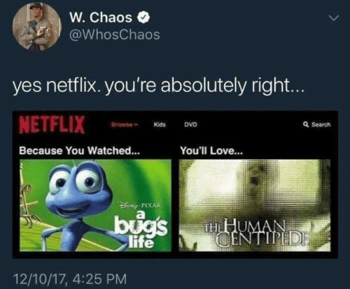 Search: W. Chaos  @WhosChaos  yes netflix. you're absolutely right...  NETFLIX  Browne  Q Search  DVD  Kids  Because You Watched...  You'll Love...  DENy PIXAR  bugs  life  HHUMAN  CENTIPEDE  12/10/17, 4:25 PM