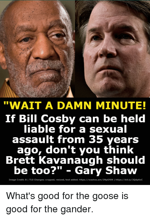 """whats good: """"WAIT A DAMN MINUTE!  If Bill Cosby can be held  iable for a sexual  assault from 35 years  ago, don't you think  Brett Kavanaugh should  be too?"""" - Gary Shaw  Image Credita B I TLU Changesi cropped, resized, text added. https://washex.am/2NpGf6N I https:/bit.ly/2QAp6oC What's good for the goose is good for the gander."""