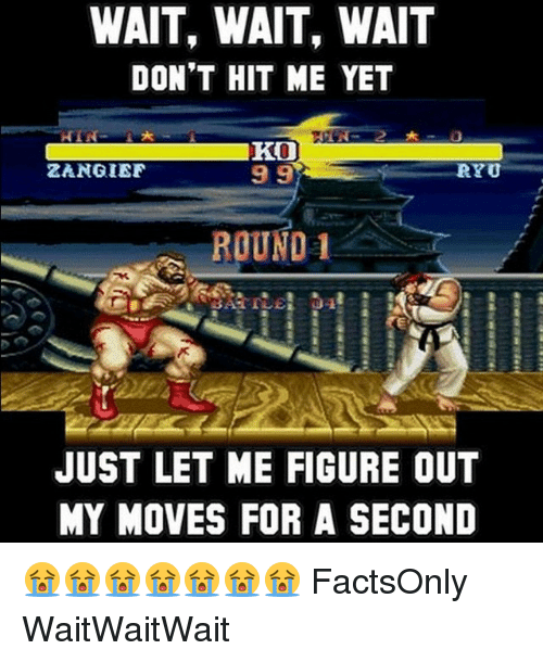 Memes, 🤖, and For: WAIT, WAIT, WAIT  DON'T HIT ME YET  HIN  KO  ZANGIEF  RYO  99  ROUND  1  JUST LET ME FIGURE OUT  MY MOVES FOR A SECOND 😭😭😭😭😭😭😭 FactsOnly WaitWaitWait