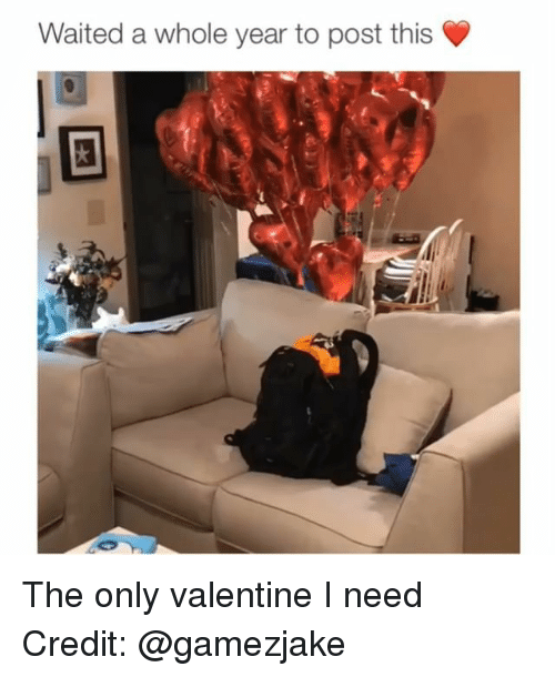 Memes, 🤖, and Valentine: Waited a whole year to post this The only valentine I need Credit: @gamezjake