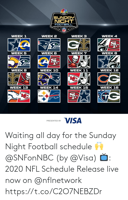 Sunday: Waiting all day for the Sunday Night Football schedule 🙌 @SNFonNBC  (by @Visa)  📺: 2020 NFL Schedule Release live now on @nflnetwork https://t.co/C2O7NEBZDr