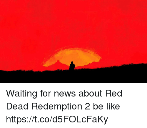 Be Like, News, and Red Dead Redemption: Waiting for news about Red Dead Redemption 2 be like https://t.co/d5FOLcFaKy