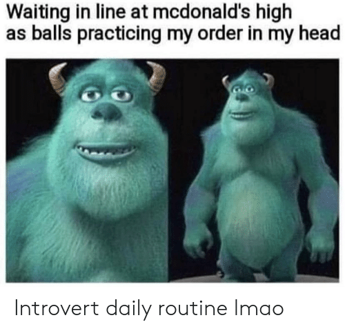 Funny, Head, and Introvert: Waiting in line at mcdonald's high  as balls practicing my order in my head Introvert daily routine lmao