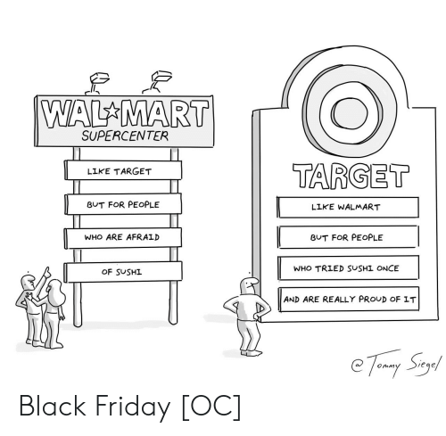 Black Friday, Friday, and Target: WAL MART  SUPERCENTER  TARGET  LIKE TARGET  BUT FOR PEOPLE  LIKE WALMART  WHO ARE AFRAID  BUT FOR PEOPLE  WHO TRIED SUSHI ONCE  OF SUSHI  AND ARE REALLY PROUD OF IT  e7 my Suy Black Friday [OC]
