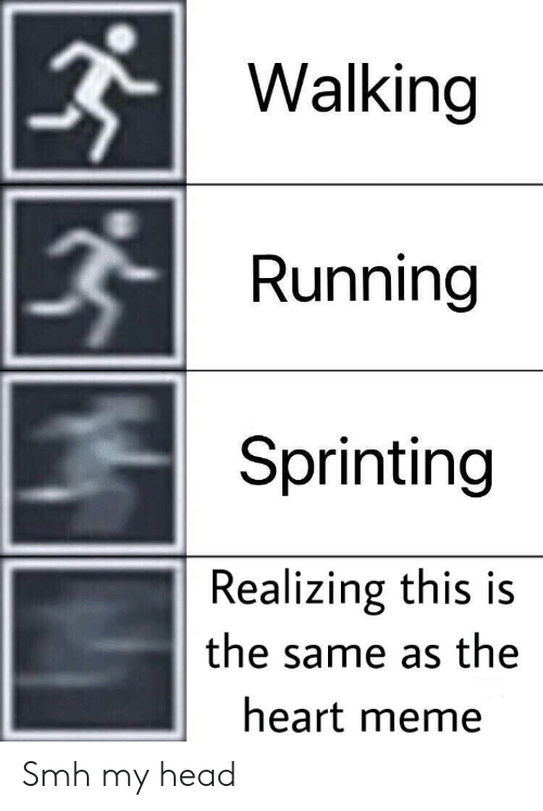 Heart Meme: Walking  Running  Sprinting  Realizing this is  the same as the  heart meme Smh my head