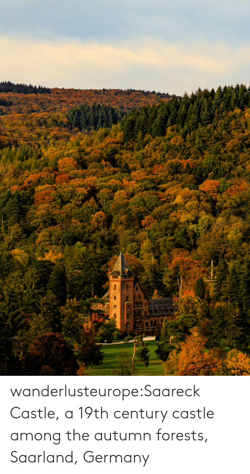 origin: wanderlusteurope:Saareck Castle, a 19th century castle among the autumn forests, Saarland, Germany