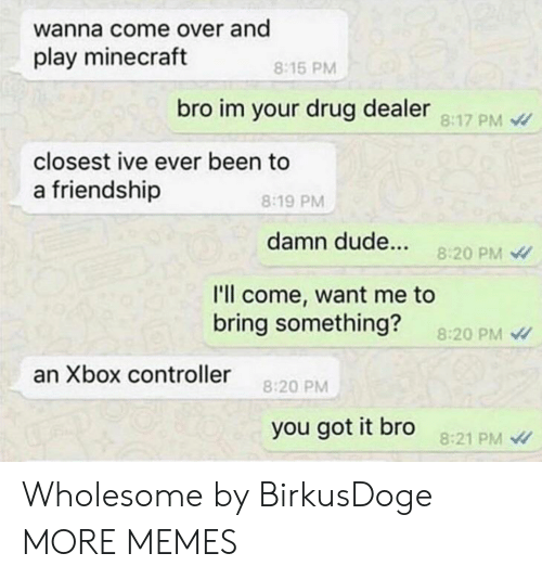Play Minecraft: wanna come over and  play minecraft  8:15 PM  bro im your drug dealer 8:17 PM  closest ive ever been to  a friendship  8:19 PM  damn dude...  8:20 PM  l'll come, want me to  bring something?  8:20 PM  an Xbox controller  8:20 PM  you got it bro  8:21 PM Wholesome by BirkusDoge MORE MEMES