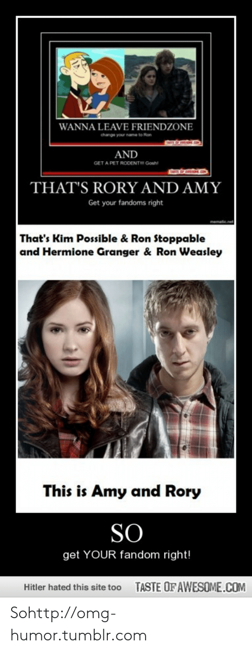 Ron Stoppable : WANNA LEAVE FRIENDZONE  change your name to Ron  AND  GET A PET RODENTII Gosh  THAT'S RORY AND AMY  Get your fandoms right  memaie  That's Kim Possible & Ron Stoppable  and Hermione Granger & Ron Weasley  This is Amy and Rory  SO  get YOUR fandom right!  TASTE OF AWESOME.COM  Hitler hated this site too Sohttp://omg-humor.tumblr.com