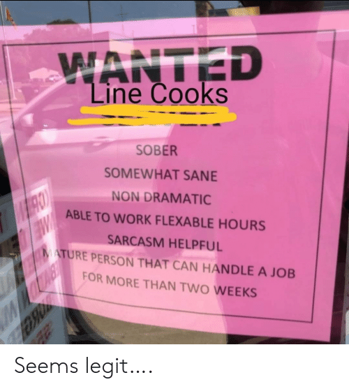 Work, Sober, and Sarcasm: WANTED  Line Cooks  SOBER  SOMEWHAT SANE  NON DRAMATIC  ABLE TO WORK FLEXABLE HOURS  SARCASM HELPFUL  MATURE PERSON THAT CAN HANDLE A JOB  W  FOR MORE THAN TWO WEEKS Seems legit….