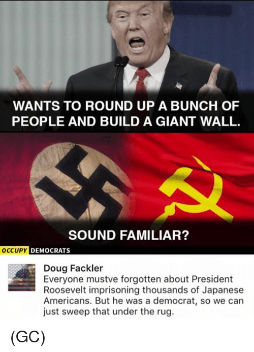 Doug, Memes, and Giant: WANTS TO ROUND UP A BUNCH OF  PEOPLE AND BUILD A GIANT WALL  SOUND FAMILIAR?  DEMOCRATS  Doug Fackler  Everyone mustve forgotten about President  Roosevelt imprisoning thousands of Japanese  Americans. But he was a democrat, so we can  just sweep that under the rug. (GC)