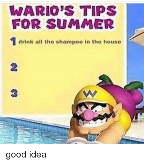 Memes, Summer, and Good: WARIO'S TIPS  FOR SUMMER  drink all the shampoo in the house  2  3 good idea