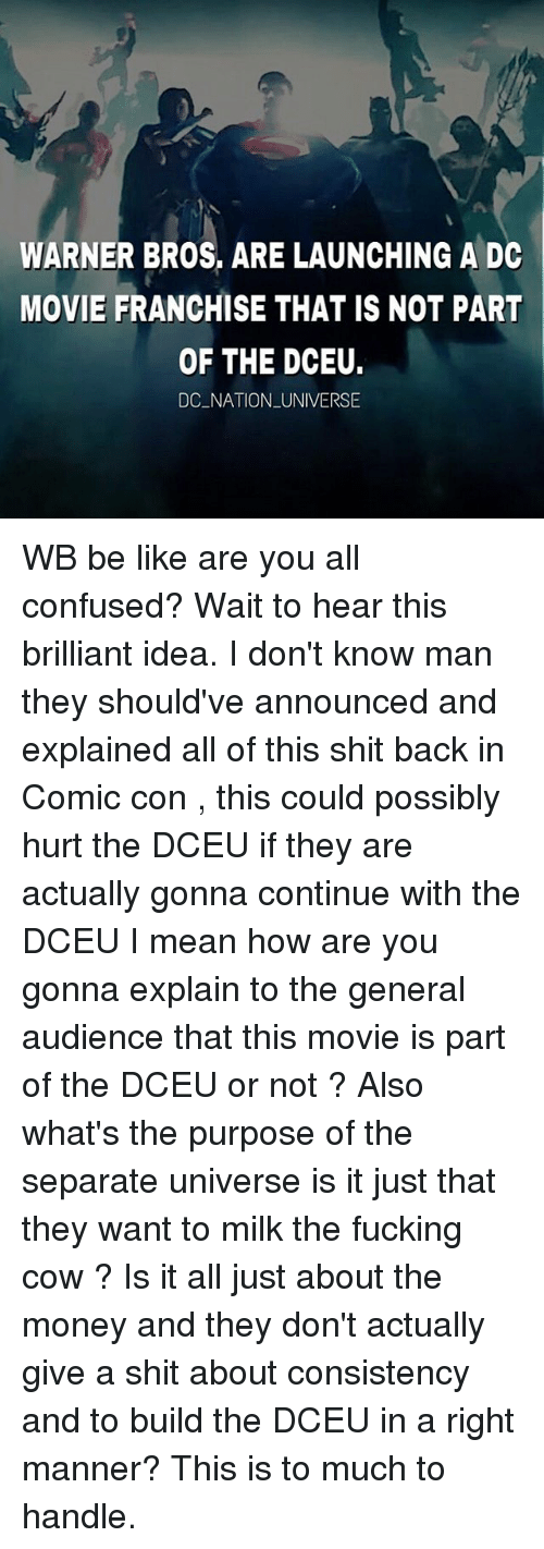 cowed: WARNER BROS, ARE LAUNCHING A DC  MOVIE FRANCHISE THAT IS NOT PART  OF THE DCEU.  DC NATION UNIVERSE WB be like are you all confused? Wait to hear this brilliant idea. I don't know man they should've announced and explained all of this shit back in Comic con , this could possibly hurt the DCEU if they are actually gonna continue with the DCEU I mean how are you gonna explain to the general audience that this movie is part of the DCEU or not ? Also what's the purpose of the separate universe is it just that they want to milk the fucking cow ? Is it all just about the money and they don't actually give a shit about consistency and to build the DCEU in a right manner? This is to much to handle.