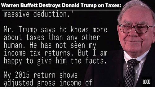 Donald Trump On: Warren Buffett Destroys Donald Trump on Taxes:  massive deduction  Mr. Trump says he knows more  about taxes than any other  human. He has not seen m  income tax returns. But I am  happy to give him the facts  My 2015 return shows  adjusted gross income of