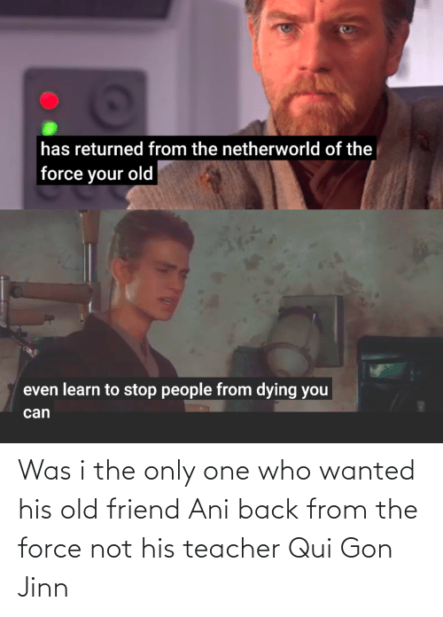 gon: Was i the only one who wanted his old friend Ani back from the force not his teacher Qui Gon Jinn