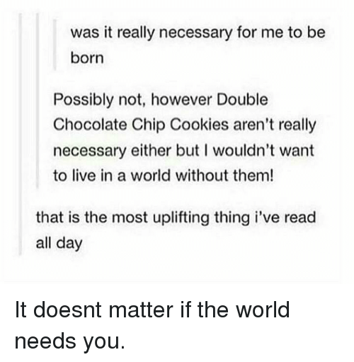 Cookies, Chocolate, and Live: was it really necessary for me to be  born  Possibly not, however Double  Chocolate Chip Cookies aren't really  necessary either but I wouldn't want  to live in a world without them!  that is the most uplifting thing i've read  all day It doesnt matter if the world needs you.