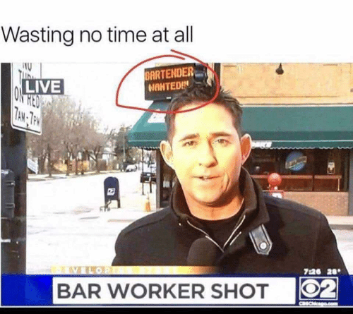 Live, Time, and Red: Wasting no time at all  BARTENDER  NAHTEDIN  LIVE  RED  ON  7AM- TPM  7:26 20  02  BAR WORKER SHOT  CaSChcago.com