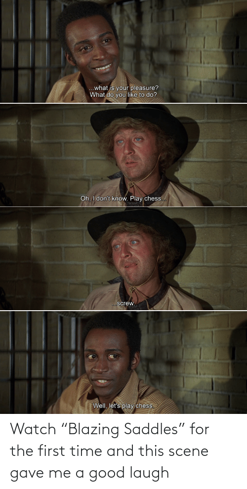 "scene: Watch ""Blazing Saddles"" for the first time and this scene gave me a good laugh"