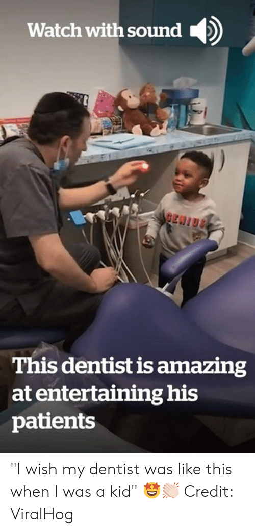 "Watch, Amazing, and Sound: Watch with sound  BEN!US  This dentist is amazing  at entertaining his  patients ""I wish my dentist was like this when I was a kid"" 🤩👏🏻  Credit: ViralHog"
