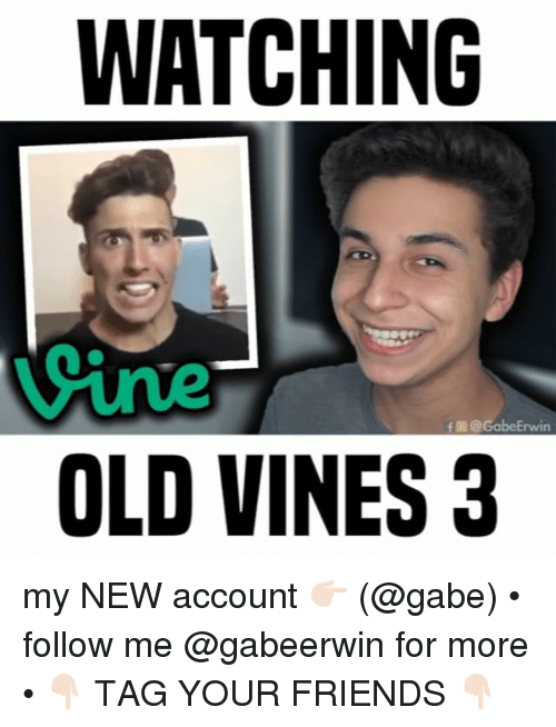 Friends, Memes, and Old: WATCHING  ine  OLD VINES3  f @ GabeErwin my NEW account 👉🏻 (@gabe) • follow me @gabeerwin for more • 👇🏻 TAG YOUR FRIENDS 👇🏻